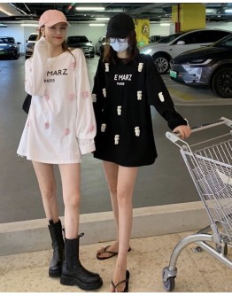 FREE SHIPPING LADIES BEAR PATTERED LONG-SLEEVED TOPS