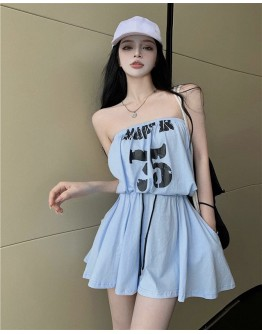 FREE SHIPPING TUBE TOPS ELASTIC JUMPSUIT