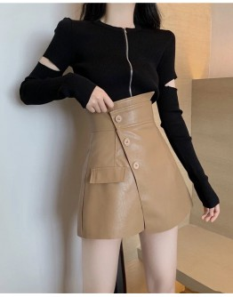 FREE SHIPPING CUT-OUT TOPS / FAUX LEATHER SHORTS