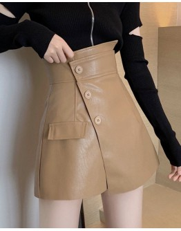FREE SHIPPING FAUX LEATHER SHORTS / CUT-OUT ZIPPER TOPS