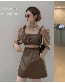 FREE SHIPPING FAUX LEATHER VEST / ELASTIC SKIRT/ TURTLENECK TOPS