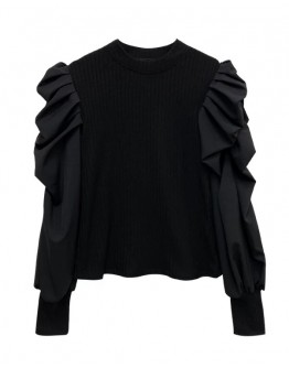 FREE SHIPPING PUFF-SLEEVED KNIT LONG-SLEEVED TOPS