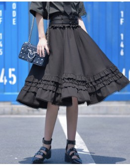 LADIES METAL RINGS SHIRT+TIE BELT / LONG-SKIRT+BELT