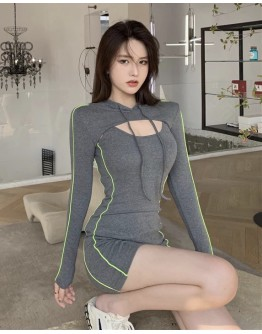 FREE SHIPPING STRIPE KNITTED OUTWEAR TOPS / FITTED DRESS