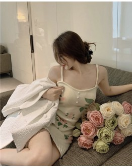 FREE SHIPPING FLORA CAMISOLE KNI FITTED DRESS / LOOSE WHITE COAT