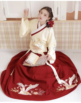LADIES EMBROIDER DEER HANFU TOPS + DRESS