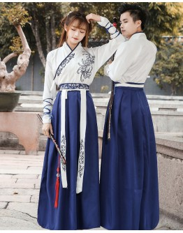 UNISEX EMBROIDER CHINESE ACTION HANFU TOPS+DRESS