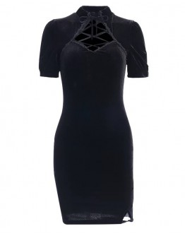 LADIES CUT-OUT VELVET FITTED DRESS