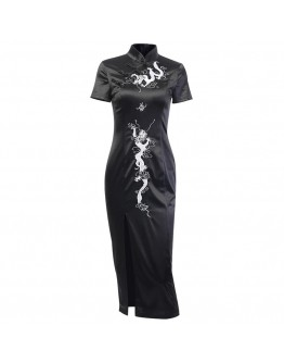 LADIES EMBROIDER DRAGON FITTED DRESS