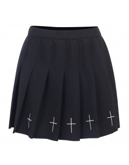 LADIES CROSS EMBROIDER A-LINE SKIRT