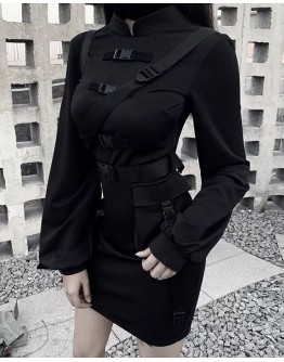 LADIES TIE-BELT PATTERED FITTED DRESS