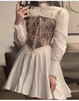 FREE SHIPPING LADIES LACE-UP VEST / LONG-SLEEVED DRESS