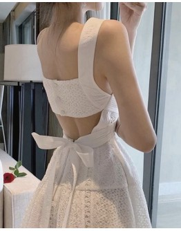 FREE SHIPPING BACKLESS LACE-UP DRESS
