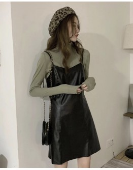 FREE SHIPPING FAUX LEATHER CAMISOLE DRESS / LONG-SLEEVED TOPS