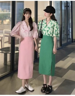 FREE SHIPPING LADIES FLORA SHIRT / FITTED LONG-SKIRT