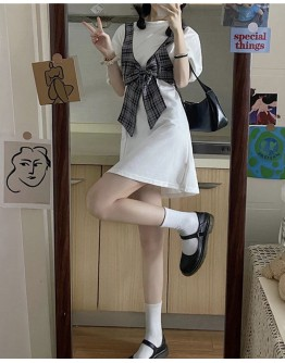 FREE SHIPPING CHECKED VEST + DRESS