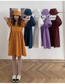 FREE HAT + LADIES PUFF-SLEEVED SHORT DRESS