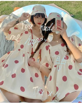 FREE DOTS HAT + PUFF-SLEEVED LONG DRESS / SHORTS TOPS