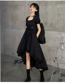 LADIES LONGER-BACK-SECTION TIE-BELT DRESS