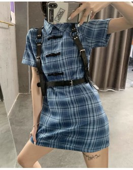LADIES CHECKED DRESS / FAUX LEATHER BELT