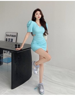 FREE SHIPPING CUT-OUT PUFF-SLEEVED FITTED DRESS