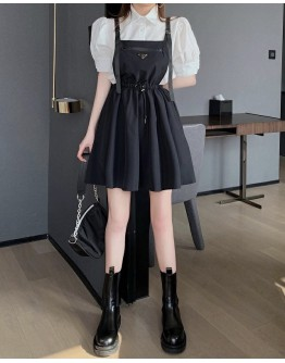 FREE SHIPPING PUFF-SLEEVED TOPS / ELASTIC JUMPSUIT
