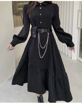 FREE SHIPPING LONG-SLEEVED DRESS + CHAIN BELT BAGS
