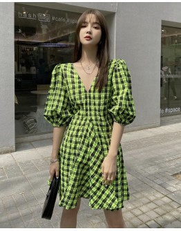 LADIES PUFF-SLEEVED CHECKED V-NECK DRESS