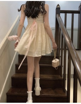 FREE SHIPPING CREAM LACE-UP BACKLESS DRESS