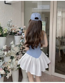 FREE SHIPPING LADIES CAMISOLE DENIM FITTED DRESS