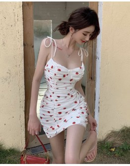 FREE SHIPPING CAMISOLE RED FLORA FITTED DRESS