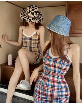 FREE SHIPPING CAMISOLE FITTED CHECKED DRESS