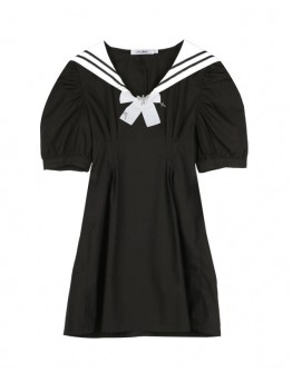 FREE SHIPPING SCHOOL-STYLE PUFF-SLEEVED DRESS