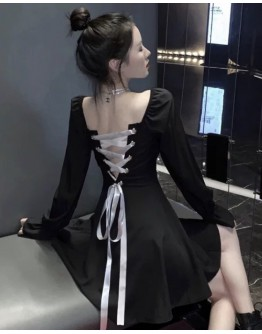 FREE SHIPPING LADIES LACE-UP BACKLESS DRESS