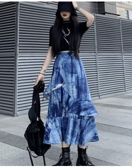 FREE SHIPPING ASYMMETRICAL LAYRED LONG-SKIRT