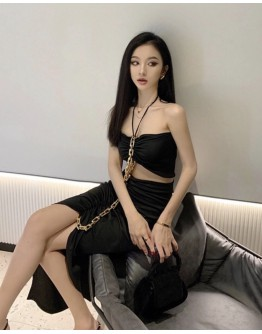 FREE SHIPPING LADIES CAMISOLE CHAIN VEST + FITTED LONG-SKIRT