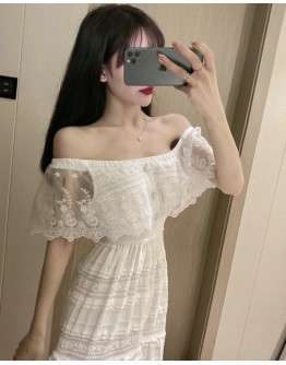FREE SHIPPING LADIES OFF-THE-SHOULDER LACE DRESS