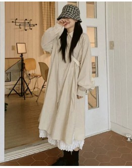FREE SHIPPING LADIES LONG-LINE OVER-SIZE SHIRT / LACE LONG-SKIRT