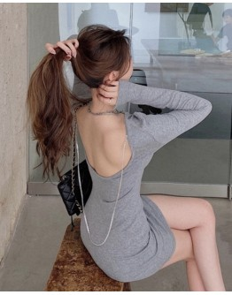 FREE SHIPPING BACKLESS RHINESTONE FITTED DRESS