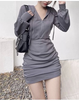 FREE SHIPPING HOODIE FITTED DRESS
