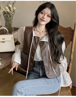 FREE SHIPPING FAUX LEATHER VEST / LONG-SLEEVED CHIFFON TOPS