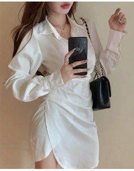 FREE SHIPPING LONG-SLEEVED FITTED SHIRT DRESS