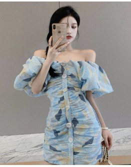 FREE SHIPPING OFF-THE-SHOULDER PUFF-SLEEVED FITTED DRESS