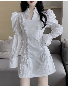 FREE SHIPPING PUFF-SLEEVED LACE-UP PATTERN DRESS