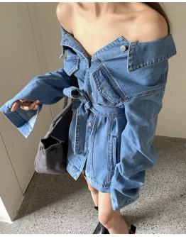 FREE SHIPPING OFF-THE-SHOULDER DENIM TIE-BELT TOPS