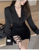 FREE SHIPPING LADIES PLUS SHORT COAT / LACE-UP FITTED DRESS