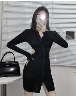 FREE SHIPPING LADIES LONG-SLEEVED CUT-OUT CHAIN DRESS