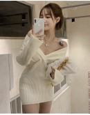 FREE SHIPPING LADIES V-NECK KNITTED PLUS DRESS