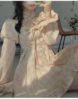 FREE SHIPPING CHECKED LONG-SLEEVED DRESS