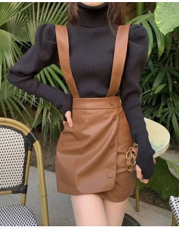 FREE SHIPPING LADIES FAUX LEATHER SKIRT / KNIT TURTLENECK TOPS
